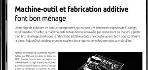 fabrication additive et machine outil et usinage