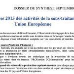Les chiffres 2015 des activités de la sous-traitance en Union Européenne